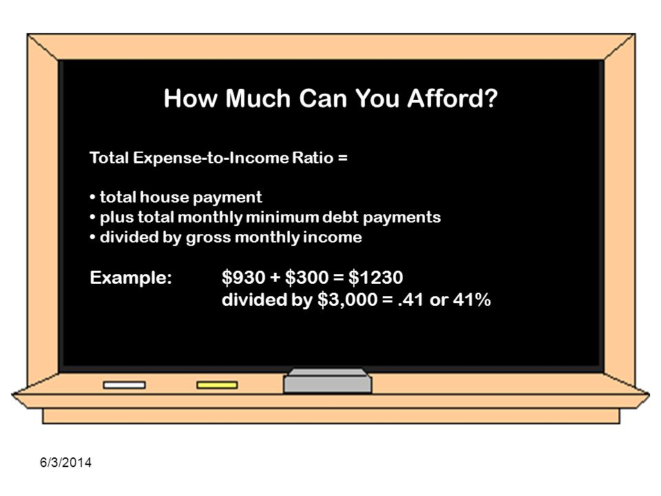 How Much Can You Afford Total Expense-to-Income Ratio: total house payment plus total monthly minimum debt payments divided by gross monthly income Ex