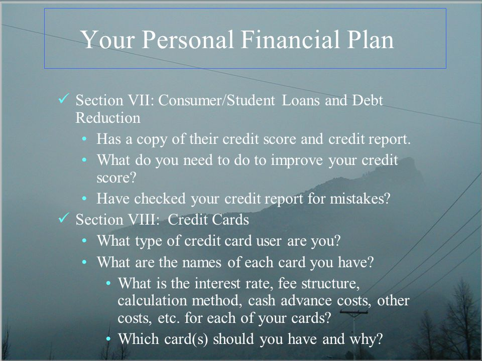 Your Personal Financial Plan Section VII: Consumer/Student Loans and Debt Reduction Has a copy of their credit score and credit report. What do you ne