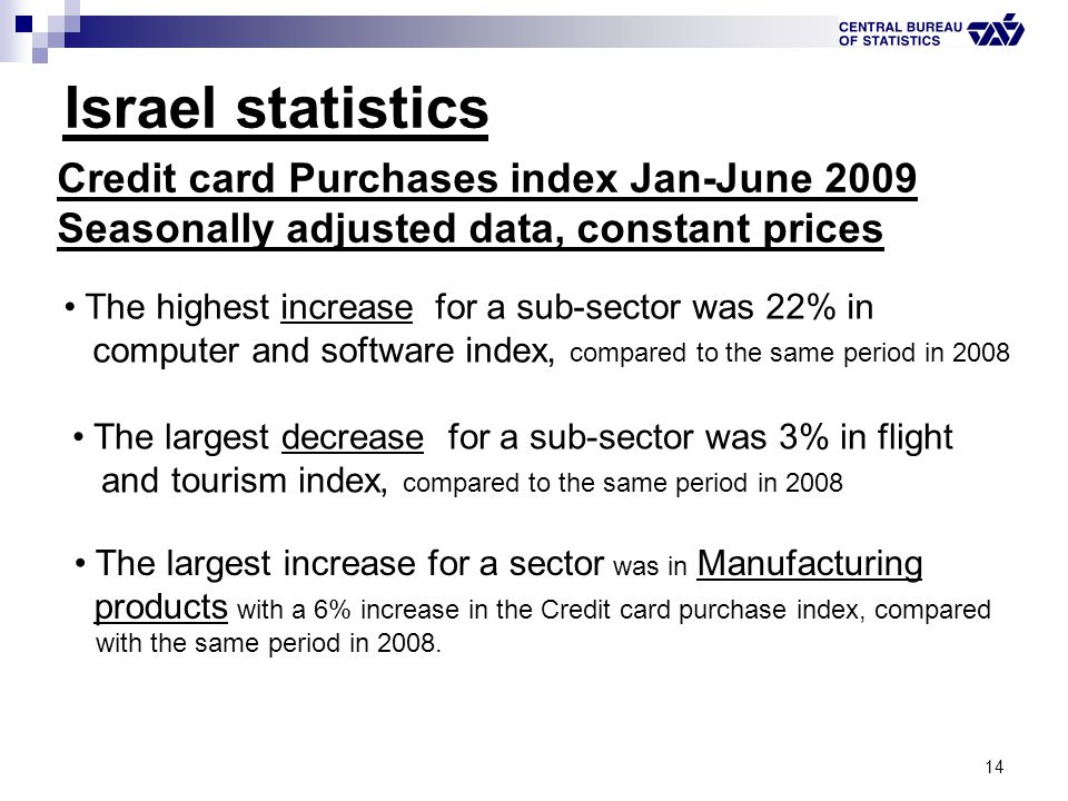 14 Israel statistics Credit card Purchases index Jan-June 2009 Seasonally adjusted data, constant prices The highest increase for a sub-sector was 22%