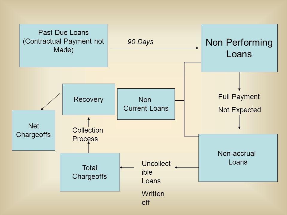 Past Due Loans (Contractual Payment not Made) 90 Days Non Performing Loans Full Payment Not Expected Non-accrual Loans Non Current Loans Total Chargeoffs Uncollect ible Loans Written off Collection Process Recovery Net Chargeoffs