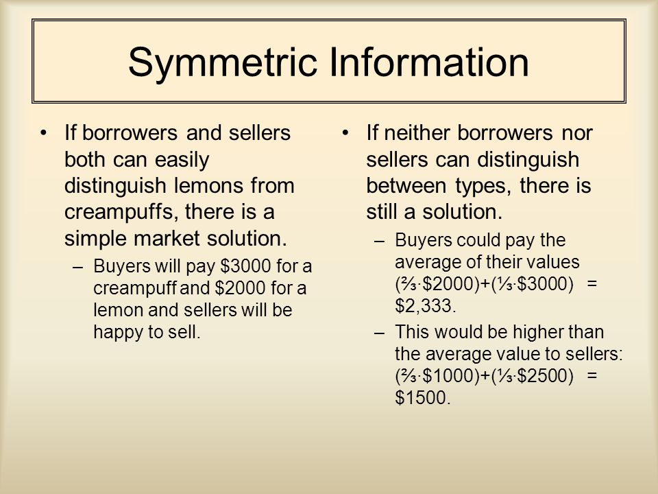 Symmetric Information If borrowers and sellers both can easily distinguish lemons from creampuffs, there is a simple market solution.