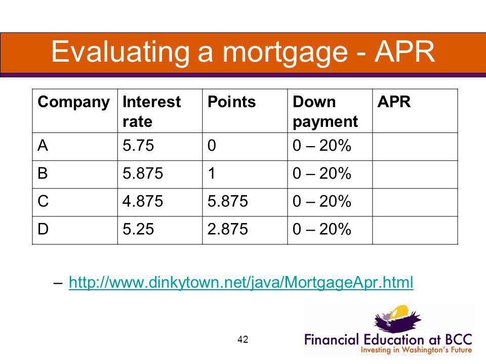 42 Evaluating a mortgage - APR –http://www.dinkytown.net/java/MortgageApr.htmlhttp://www.dinkytown.net/java/MortgageApr.html CompanyInterest rate Poin
