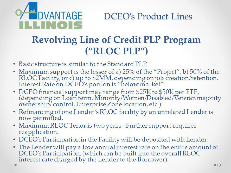 Revolving Line of Credit PLP Program (RLOC PLP) Basic structure is similar to the Standard PLP. Maximum support is the lesser of a) 25% of the Project