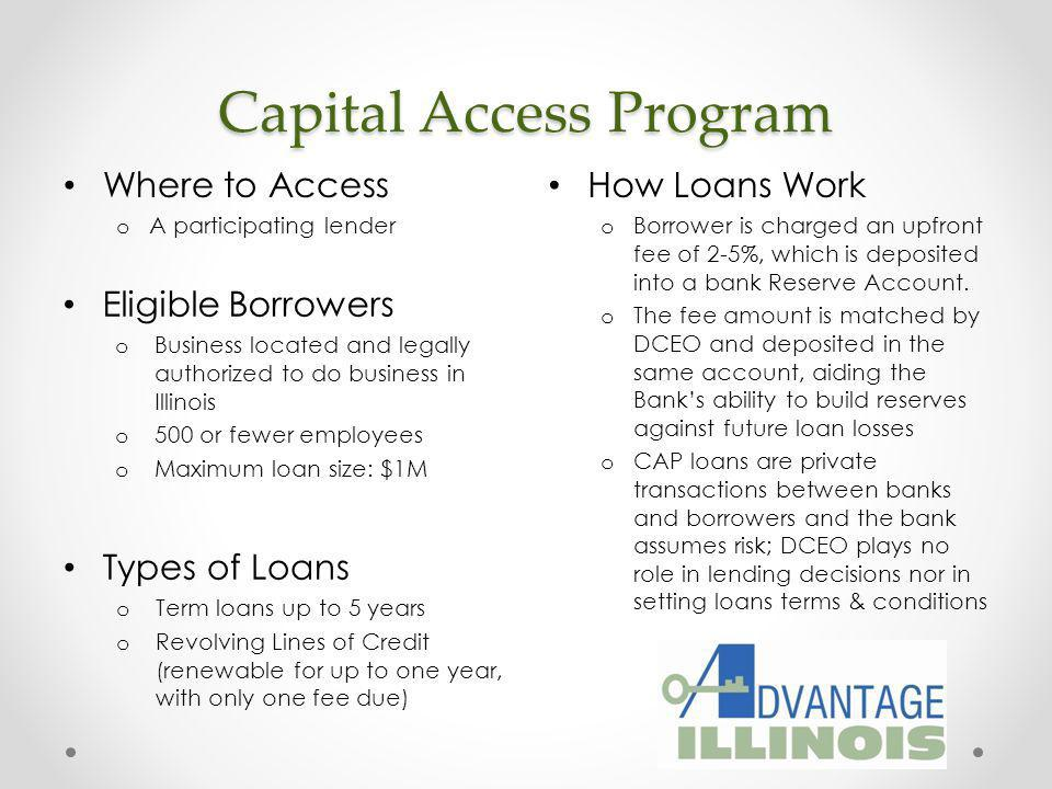 Participation Loan Program How Loans Work o Financial institution identifies potential opportunities for state participation o Or DCEO reviews business plan and facilitates a meeting with the prospective borrowers bank Where to Access o A participating lender or DCEO Financial Analyst Eligible Borrowers o Viable small/middle market business o For-profit business o 750 or fewer employees 4 Product Lines o Standard PLP o Minority/Women/Disabled/ Veteran-Owned Business o Revolving Line of Credit