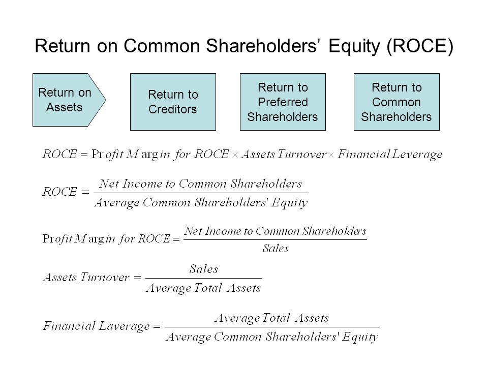 Return on Common Shareholders Equity (ROCE) Return on Assets Return to Creditors Return to Preferred Shareholders Return to Common Shareholders