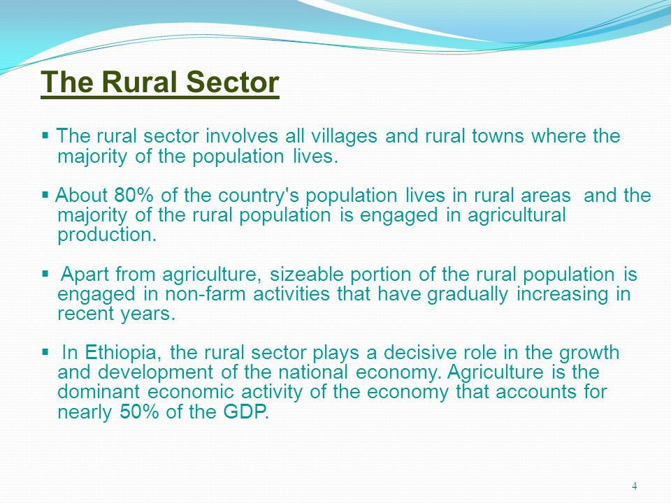 4 The Rural Sector The rural sector involves all villages and rural towns where the majority of the population lives. About 80% of the country's popul