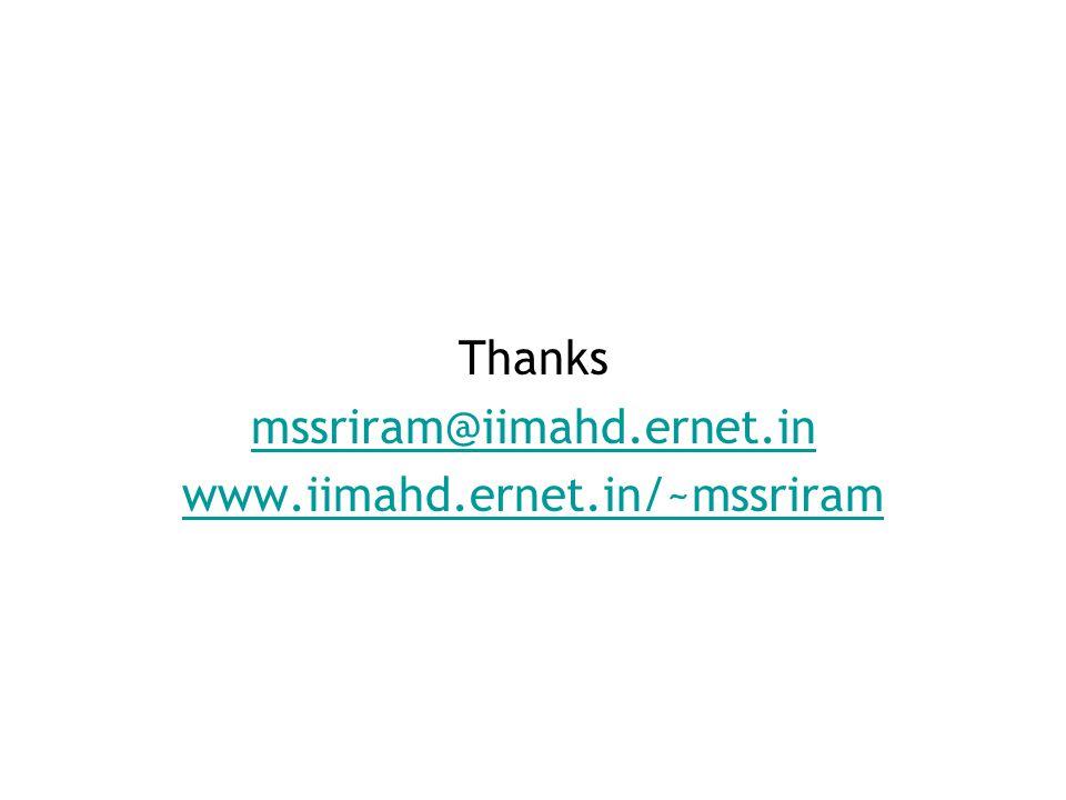 Thanks mssriram@iimahd.ernet.in www.iimahd.ernet.in/~mssriram