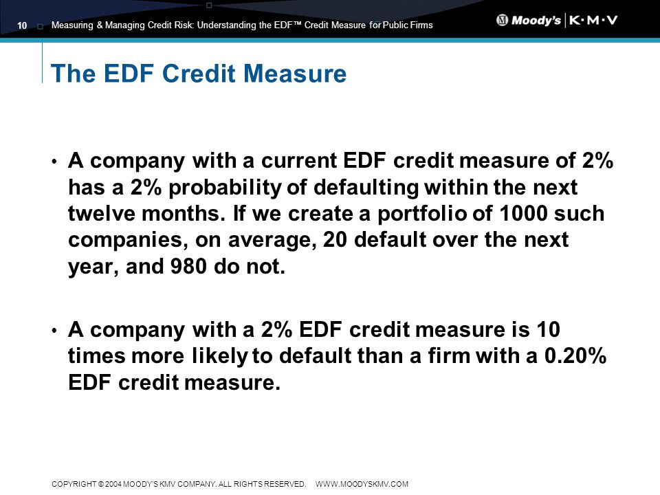 Measuring & Managing Credit Risk: Understanding the EDF Credit Measure for Public Firms COPYRIGHT © 2004 MOODYS KMV COMPANY.