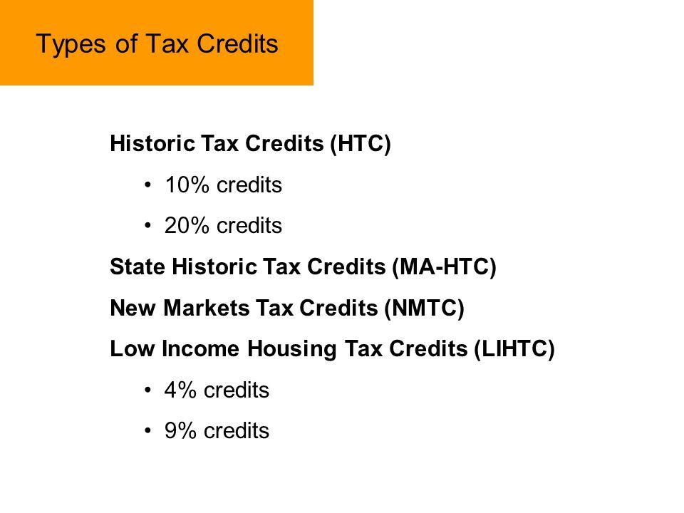 Types of Tax Credits Historic Tax Credits (HTC) 10% credits 20% credits State Historic Tax Credits (MA-HTC) New Markets Tax Credits (NMTC) Low Income