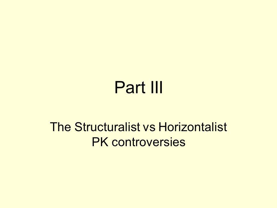Part III The Structuralist vs Horizontalist PK controversies