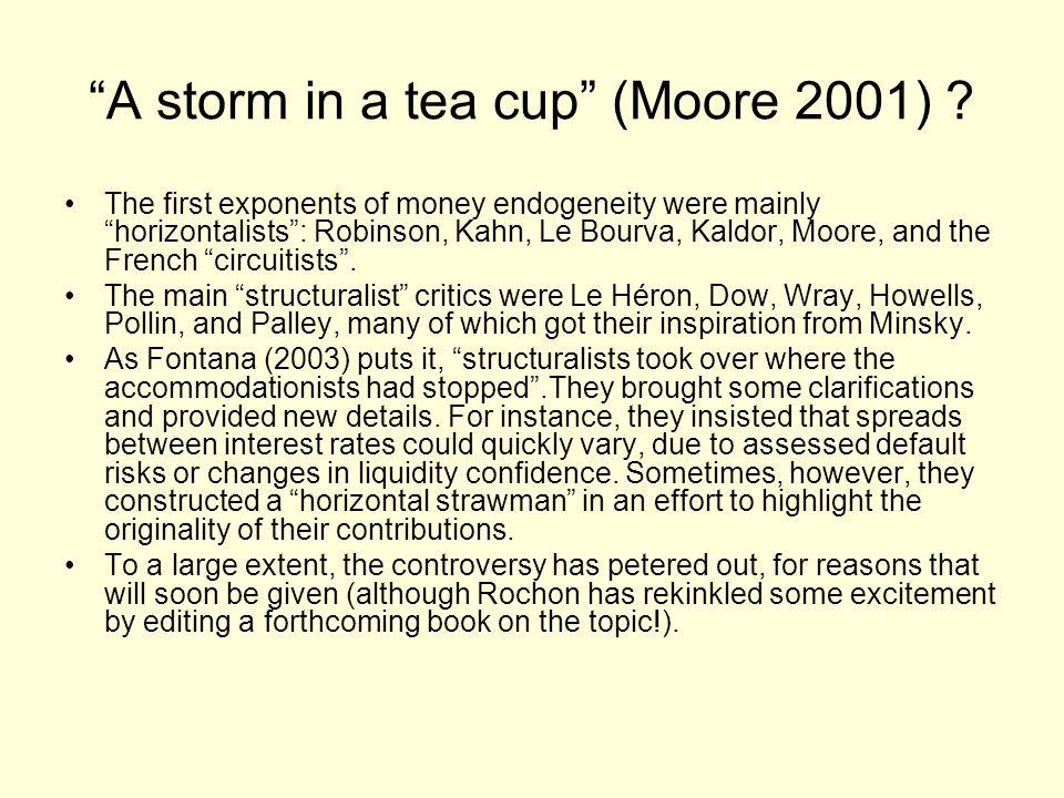 A storm in a tea cup (Moore 2001) .