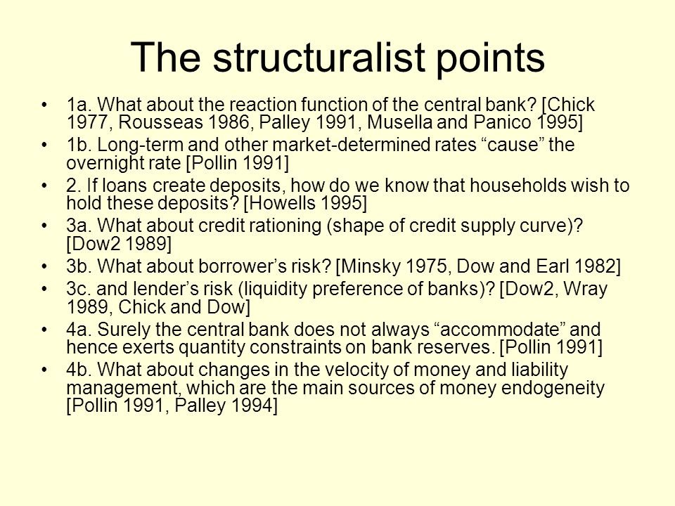 The structuralist points 1a. What about the reaction function of the central bank.