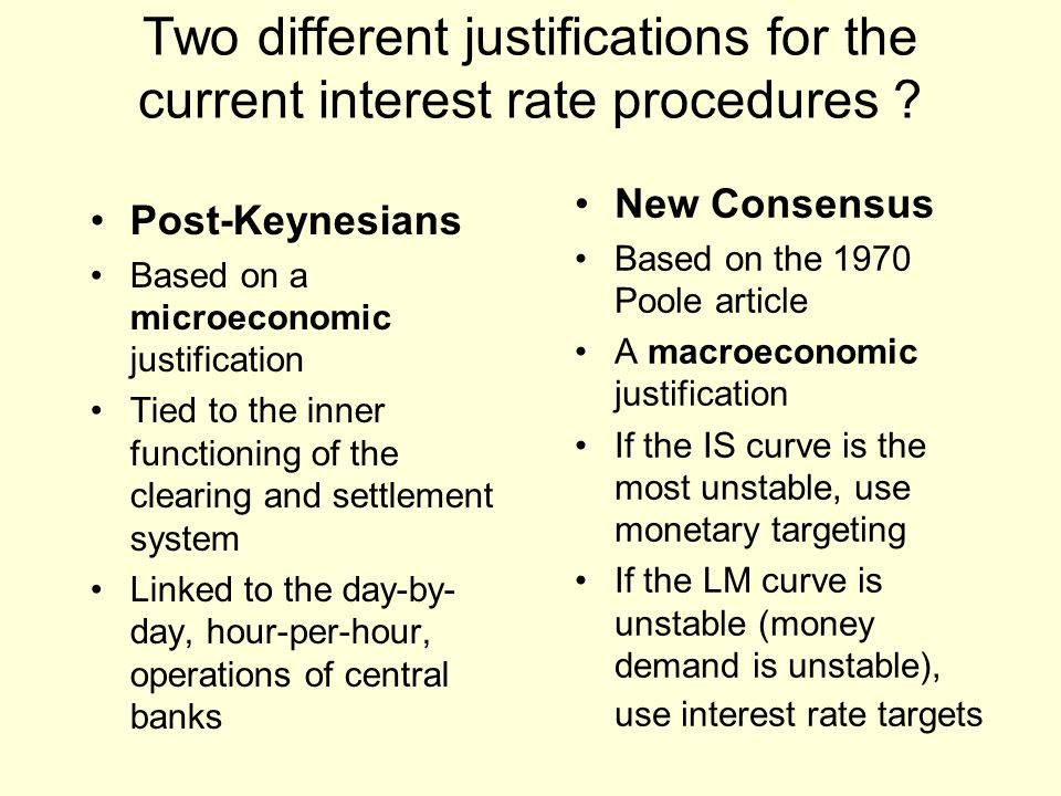 Two different justifications for the current interest rate procedures .