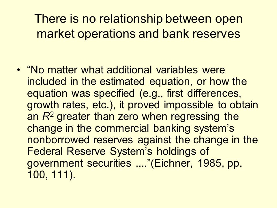 There is no relationship between open market operations and bank reserves No matter what additional variables were included in the estimated equation,