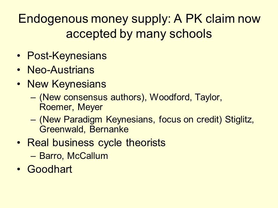 Endogenous money supply: A PK claim now accepted by many schools Post-Keynesians Neo-Austrians New Keynesians –(New consensus authors), Woodford, Taylor, Roemer, Meyer –(New Paradigm Keynesians, focus on credit) Stiglitz, Greenwald, Bernanke Real business cycle theorists –Barro, McCallum Goodhart