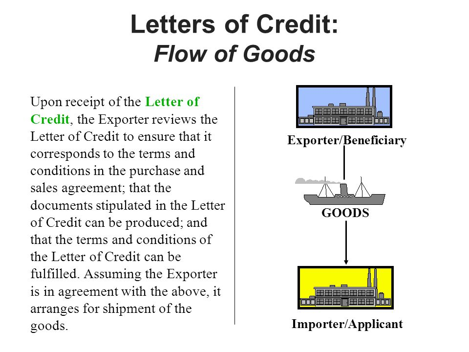Letters of Credit: Flow of Goods Upon receipt of the Letter of Credit, the Exporter reviews the Letter of Credit to ensure that it corresponds to the