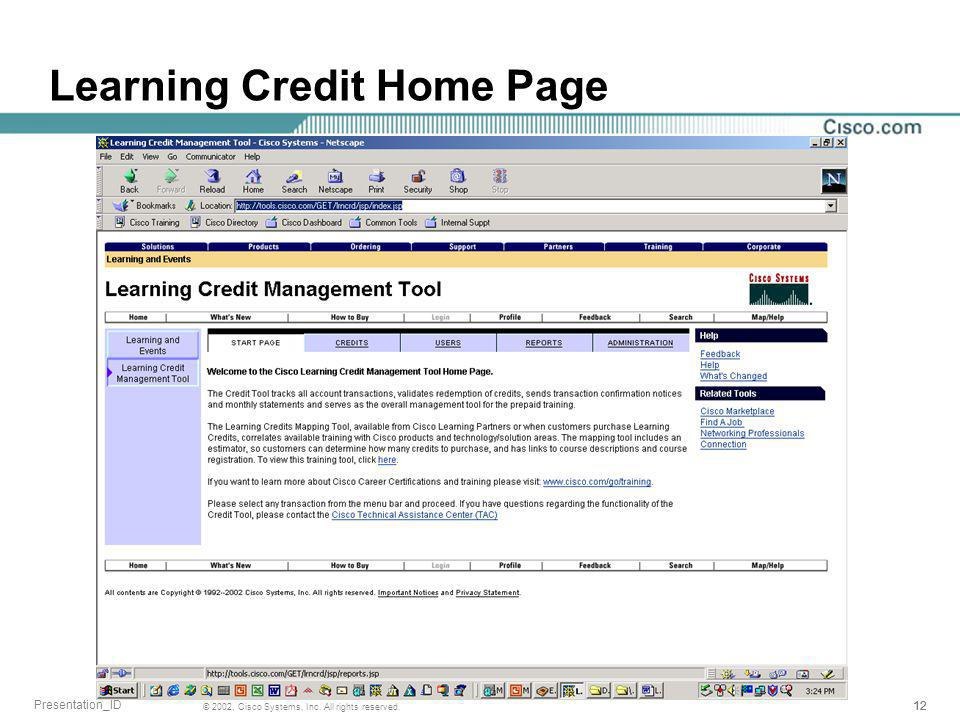 12 © 2002, Cisco Systems, Inc. All rights reserved. Presentation_ID Learning Credit Home Page