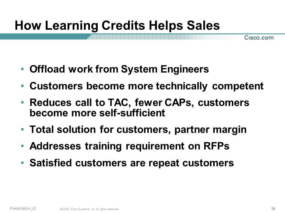 18 © 2002, Cisco Systems, Inc. All rights reserved. Presentation_ID How Learning Credits Helps Sales Offload work from System Engineers Customers beco