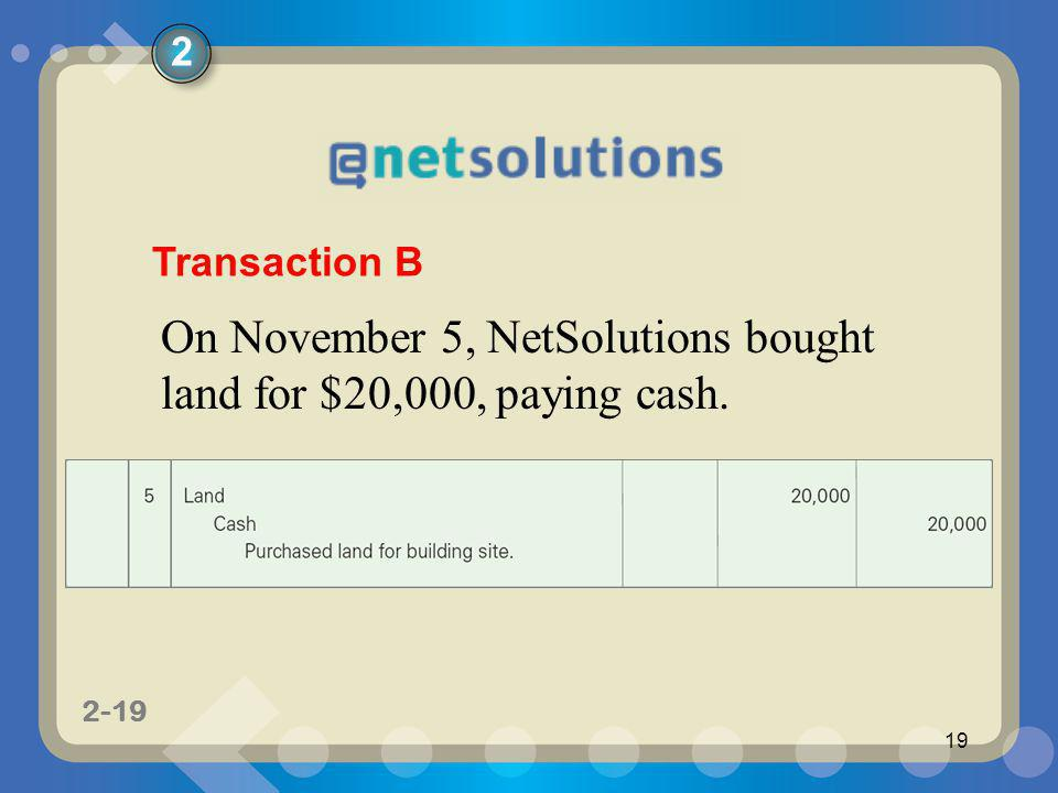 1-19 2-19 19 On November 5, NetSolutions bought land for $20,000, paying cash. Transaction B 2