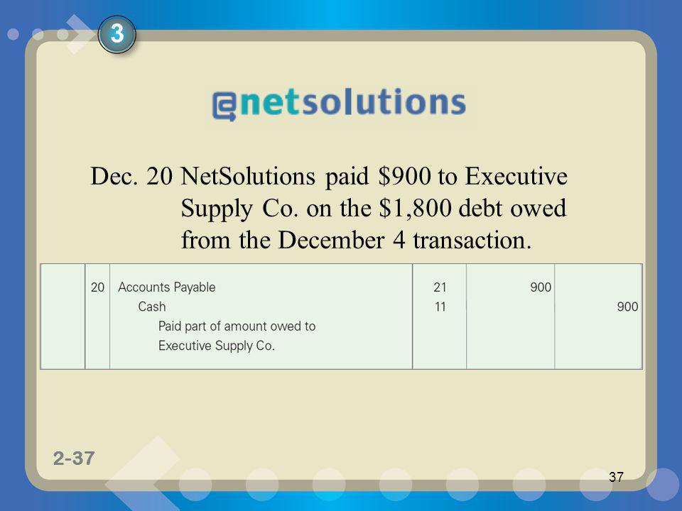 1-37 2-37 37 Dec. 20NetSolutions paid $900 to Executive Supply Co. on the $1,800 debt owed from the December 4 transaction. 3