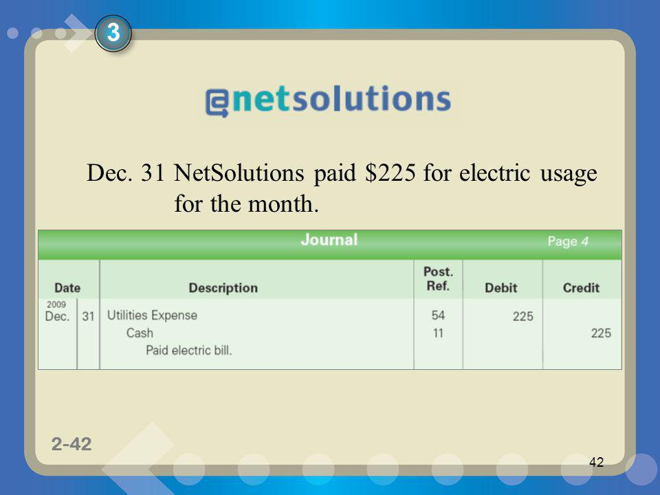1-42 2-42 42 Dec. 31NetSolutions paid $225 for electric usage for the month. 3