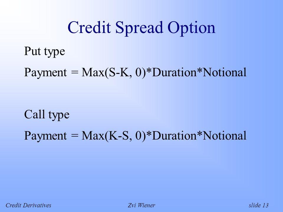 Credit DerivativesZvi Wiener slide 13 Credit Spread Option Put type Payment = Max(S-K, 0)*Duration*Notional Call type Payment = Max(K-S, 0)*Duration*Notional