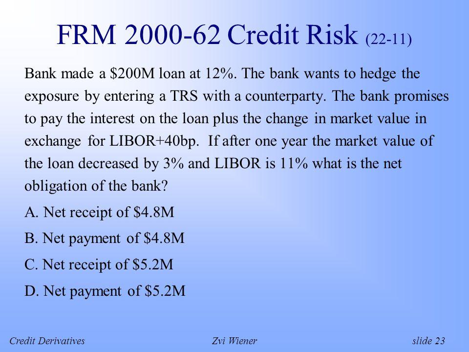 Credit DerivativesZvi Wiener slide 23 FRM 2000-62 Credit Risk (22-11) Bank made a $200M loan at 12%.