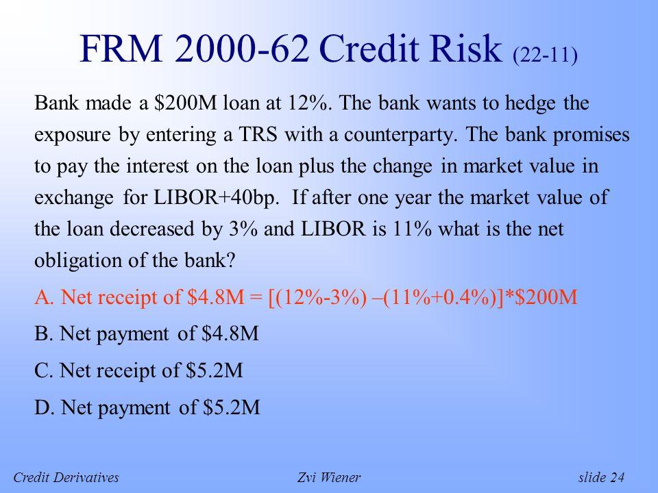 Credit DerivativesZvi Wiener slide 24 FRM 2000-62 Credit Risk (22-11) Bank made a $200M loan at 12%.