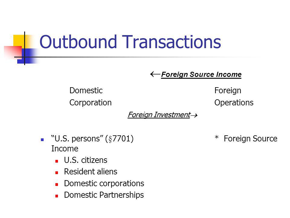 Subpart F Income (§§951- 964) FTCL basket is determined by the type of income earned by the subsidiary Foreign base company sales income Income from the sale of goods Goods are purchased from or sold to a related person CFC neither manufactures the product or sells it for sells it for use in CFCs country of incorporation.