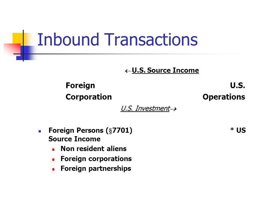 Inbound Transactions U.S. Source Income ForeignU.S. CorporationOperations U.S. Investment U.S. Investment Foreign Persons (§7701)* US Source Income No