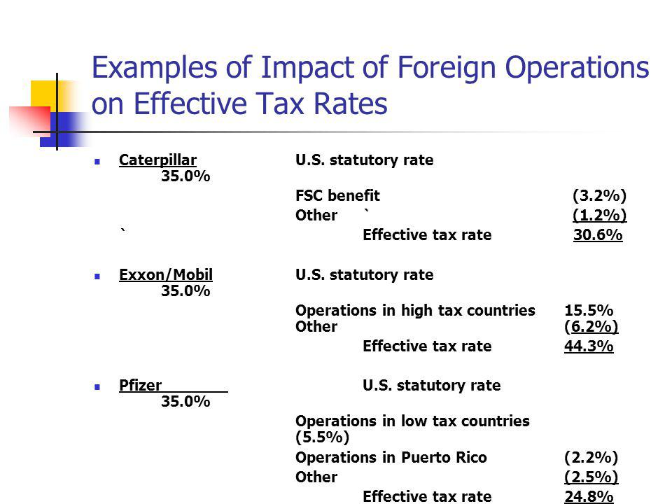 Examples of Impact of Foreign Operations on Effective Tax Rates CaterpillarU.S. statutory rate 35.0% FSC benefit (3.2%) Other` (1.2%) `Effective tax r