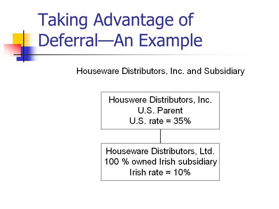 Taking Advantage of DeferralAn Example
