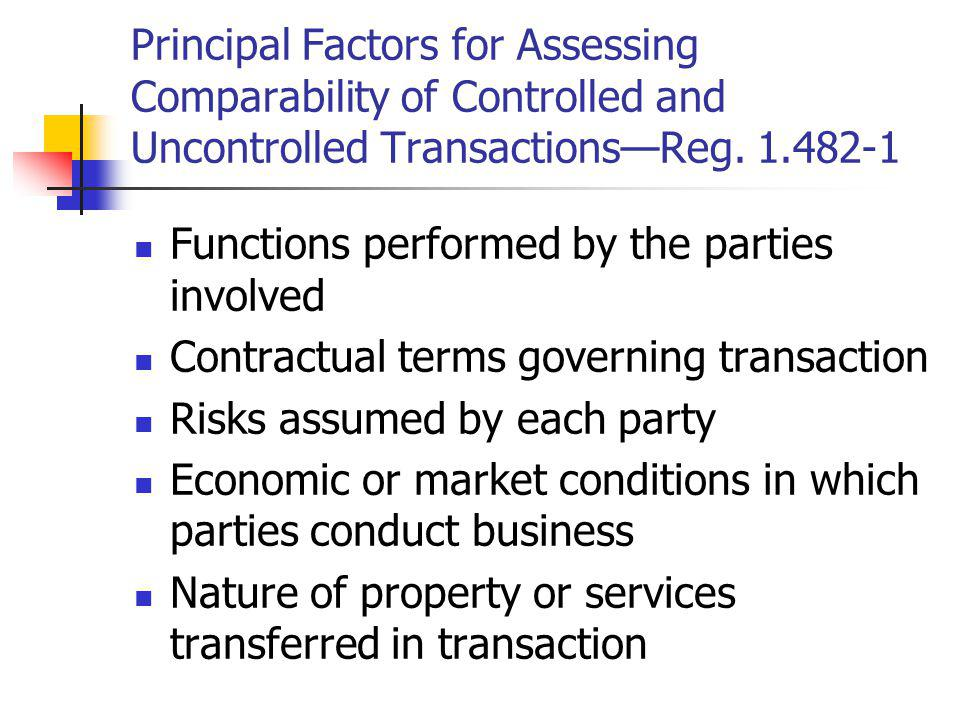 Principal Factors for Assessing Comparability of Controlled and Uncontrolled TransactionsReg. 1.482-1 Functions performed by the parties involved Cont