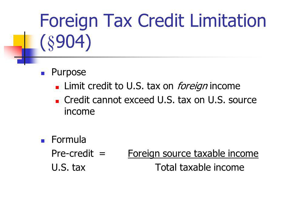 The Deemed Paid CreditAn addition to the actual withholding tax paid Rationale: Tax parity between branches and subsidiaries (for branches all income is combined in gross income; for foreign subsidiaries the income is not combined) Qualification requirements (§902) domestic Shareholder must be a domestic corporation (does not include S corporations) Shareholder must own 10% or more of voting stock Shareholder must receive dividend distribution §78 Gross-up income Equals amount of deemed paid credit Tracing foreign taxes to dividends (see next slide)