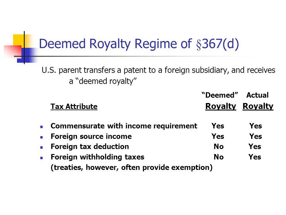 Deemed Royalty Regime of §367(d) U.S. parent transfers a patent to a foreign subsidiary, and receives a deemed royalty Deemed Actual Tax Attribute Roy