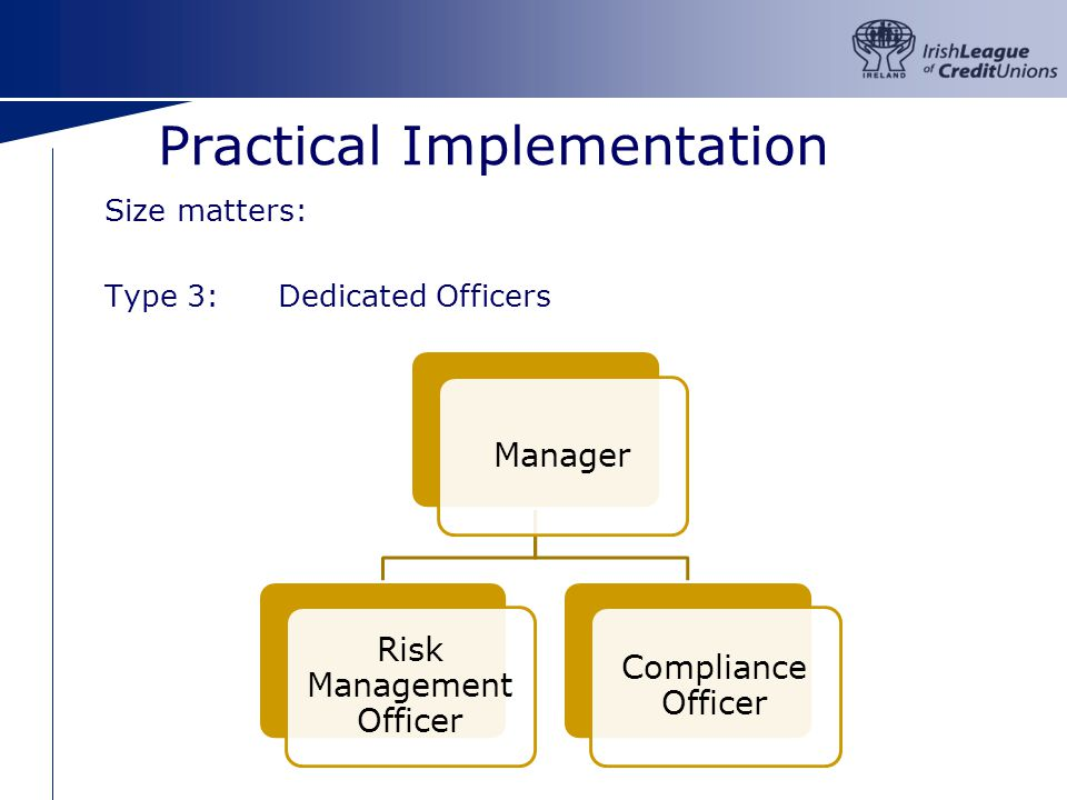 Practical Implementation Size matters: Type 3:Dedicated Officers Manager Risk Management Officer Compliance Officer