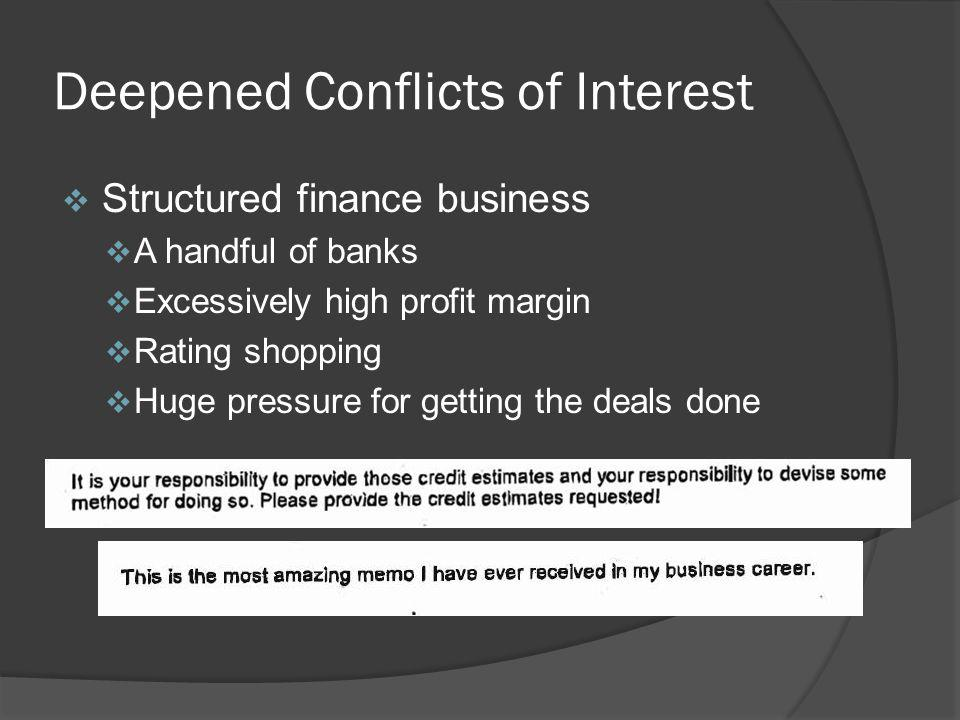Deepened Conflicts of Interest Structured finance business A handful of banks Excessively high profit margin Rating shopping Huge pressure for getting the deals done