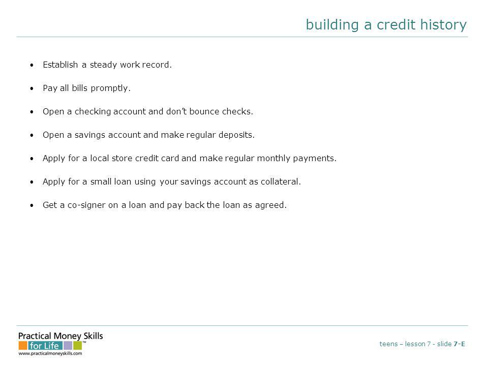 reading a credit report teens – lesson 7 - slide 7-F