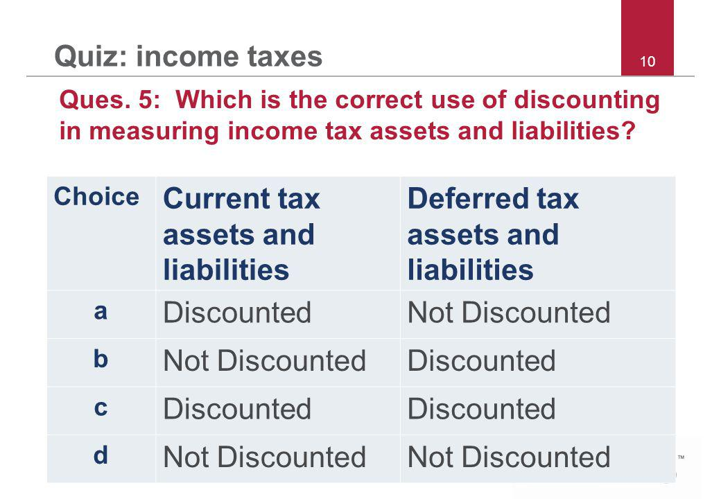 © 2011 IFRS Foundation | 30 Cannon Street | London EC4M 6XH | UK |   10 Quiz: income taxes Ques.
