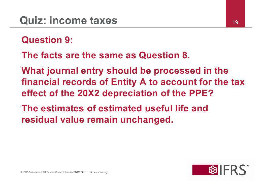 © 2011 IFRS Foundation | 30 Cannon Street | London EC4M 6XH | UK |   19 Quiz: income taxes Question 9: The facts are the same as Question 8.