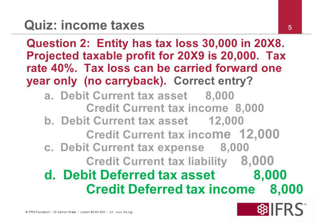 © 2011 IFRS Foundation | 30 Cannon Street | London EC4M 6XH | UK |   5 Quiz: income taxes Question 2: Entity has tax loss 30,000 in 20X8.