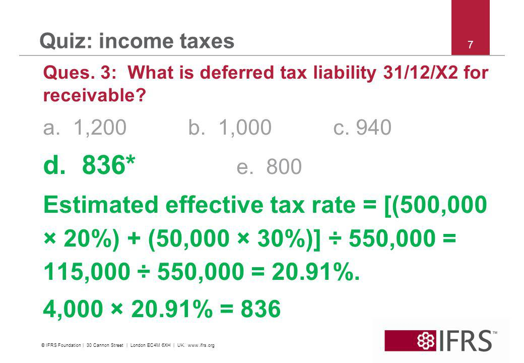 © 2011 IFRS Foundation | 30 Cannon Street | London EC4M 6XH | UK | www.ifrs.org 8 Quiz: income taxes Question 4: Tax rate is 30% on operating profit, 0% on capital gains.