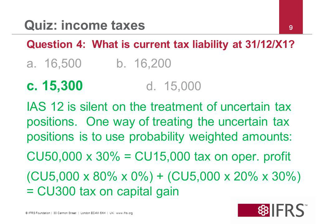 © 2011 IFRS Foundation | 30 Cannon Street | London EC4M 6XH | UK | www.ifrs.org 20 Quiz: income taxes Question 9: Dr Expenseprofit or loss: depreciation CU144 Cr AssetPPECU144 CU1,300/9 years = CU144 Dr Expenseprofit or loss: deferred tax CU17 Cr Deferred tax liabilityCU17 (CU144 accounting depreciation less CU200 tax depreciation) x 30% = CU17 © IFRS Foundation | 30 Cannon Street | London EC4M 6XH | UK.