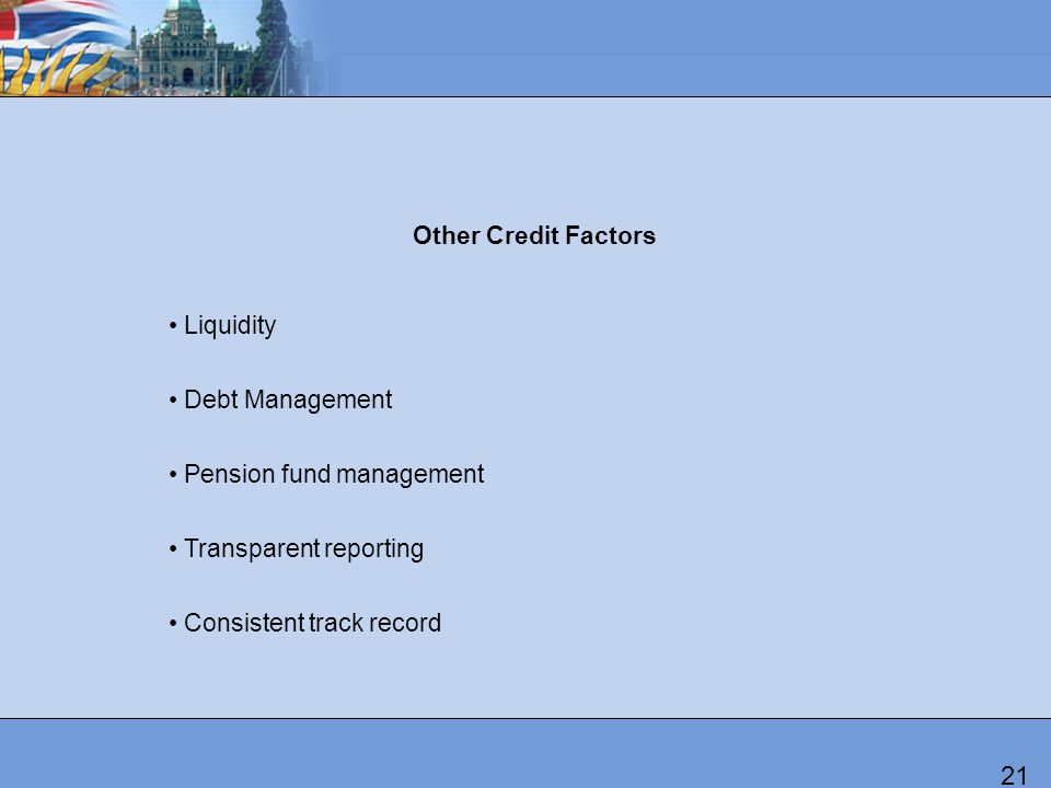 Other Credit Factors Liquidity Debt Management Pension fund management Transparent reporting Consistent track record 21