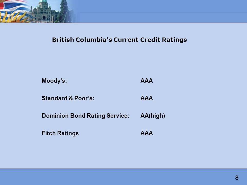 Moodys:AAA Standard & Poors:AAA Dominion Bond Rating Service:AA(high) Fitch RatingsAAA British Columbias Current Credit Ratings 8