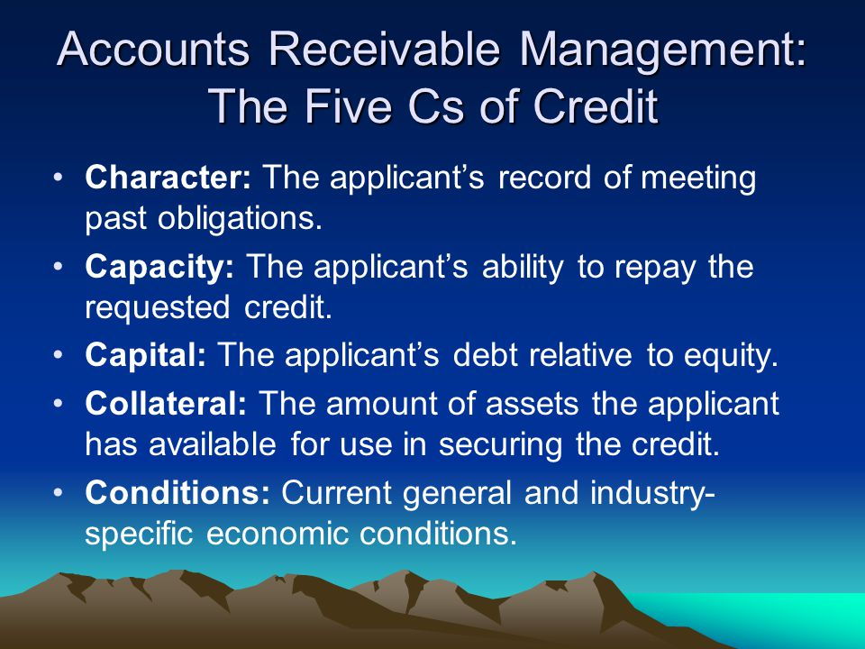 The 4 Elements of credit policy Credit Period – How long to pay.