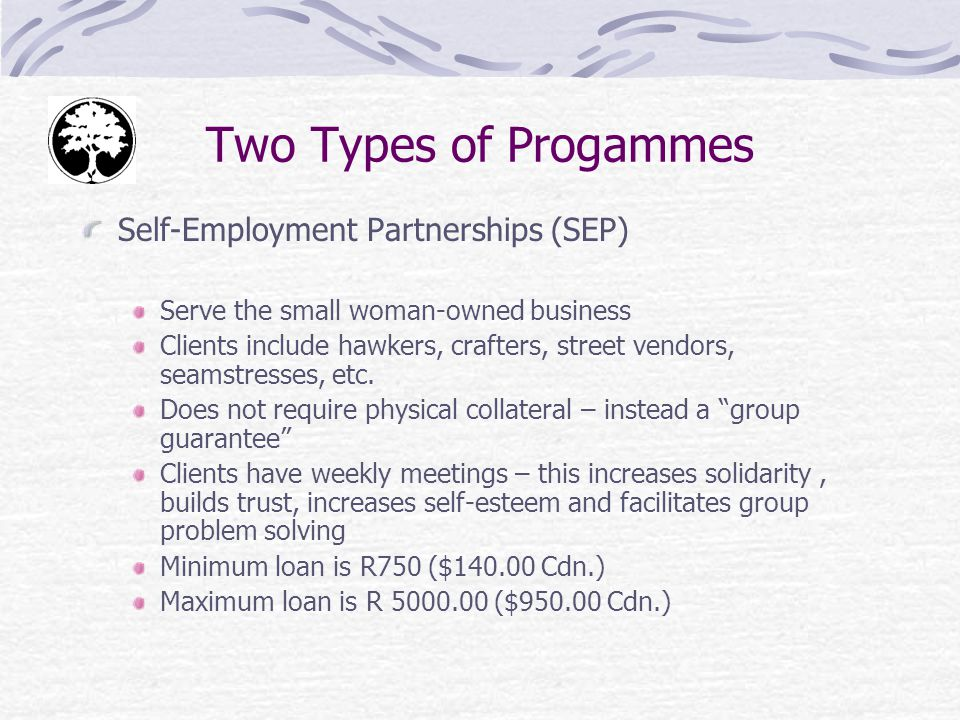 Two Types of Progammes Self-Employment Partnerships (SEP) Serve the small woman-owned business Clients include hawkers, crafters, street vendors, seamstresses, etc.