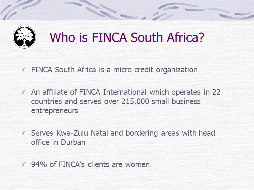 Who is FINCA South Africa.