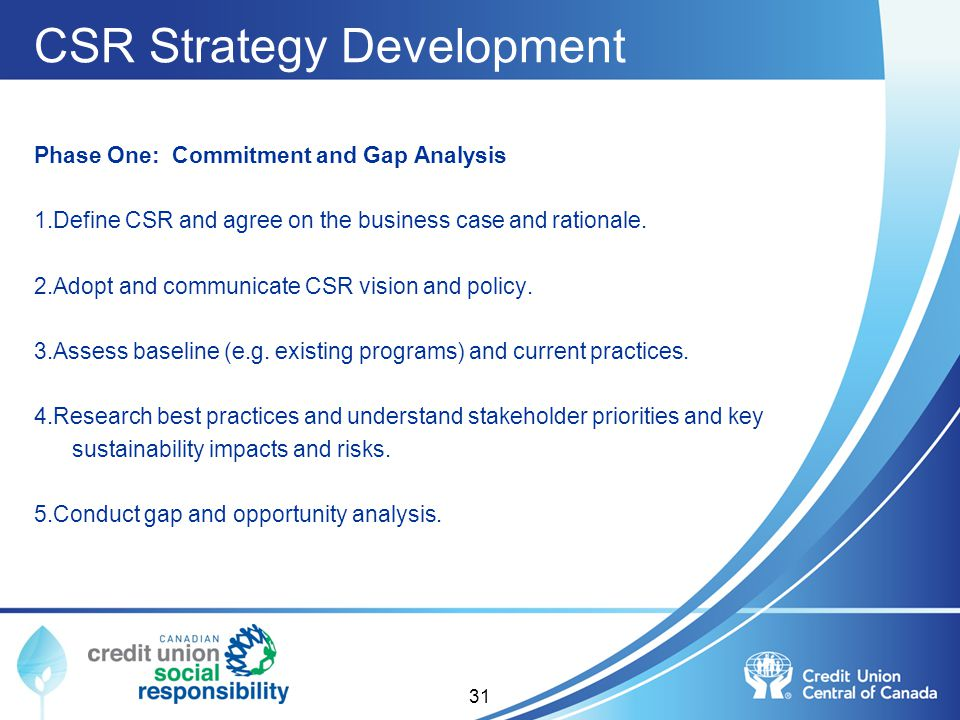 CSR Strategy Development Phase One: Commitment and Gap Analysis 1.Define CSR and agree on the business case and rationale. 2.Adopt and communicate CSR