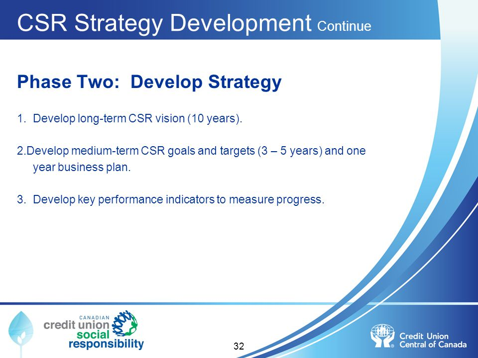 CSR Strategy Development Continue Phase Two: Develop Strategy 1. Develop long-term CSR vision (10 years). 2.Develop medium-term CSR goals and targets